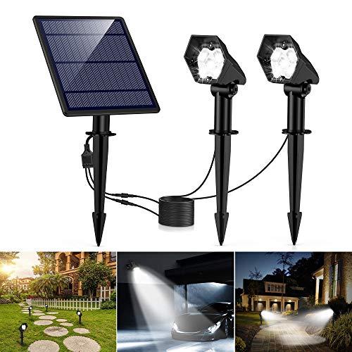 Solar Gartenleuchte Solar Strahler 2 Stück, Ultrahelle 3 Helligkeitsstufe IP65 Wasserdicht, Hocheffiziente Solar Panel Automatische EIN/Aus Solarlampe mit Erdspieß für Gärten, Bäume (193)