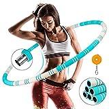 Awroutdoor Hula Hoop Fitness Desmontable de Acero Inoxidable, Professional Hula Hoop Adultos Fitness 1,2kg para Adelgazar, Peso Ajustable, Aro de Fitness con Cinta Métrica
