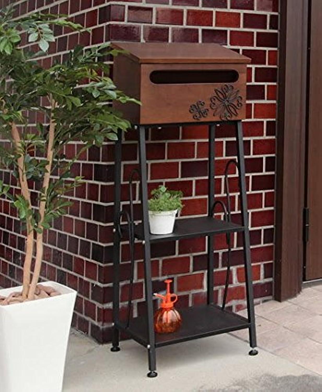 2段棚付木製スタンドポストダークブラウン鍵穴付脚部スチールswenee