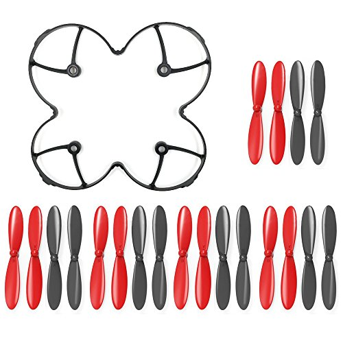 AFUNTA Propeller Blades Protection Guard Cover and Props 5X Sets Compatible X4 H107C H107D Quadcopter -- Black / Red