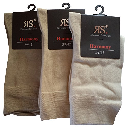 6 Paar Socken Pia Harmony RS Baumwolle ohne Naht (39-42, Beige)