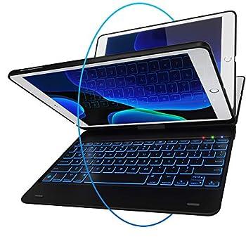 iPad Keyboard Case for iPad 2018  6th Gen  - iPad 2017  5th Gen  - iPad Pro 9.7 - iPad Air 2 & 1 - Thin & Light - 360 Rotatable - Wireless/BT - Backlit 10 Color - iPad Case with Keyboard  Black