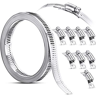 Clamps Hose Stainless Steel Worm Clamp, Hose Clamp Strap with Fasteners, 304 Stainless Steel Clamps Worm Adjustable DIY Pipe Hose Clamp Air Ducting Clamp Worm Drive Hose Clamps