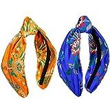 KYEYGWO - Diadema de seda para mujer, estilo vintage con bordados de flores, para maquillaje nocturno Orange/Bleu Foncé Talla única