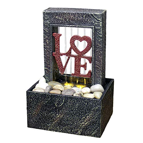Newport coast collection 6.6' H Rainning Love Dual Power LED Fountain with Natural River Rocks (Adapter NOT Included)