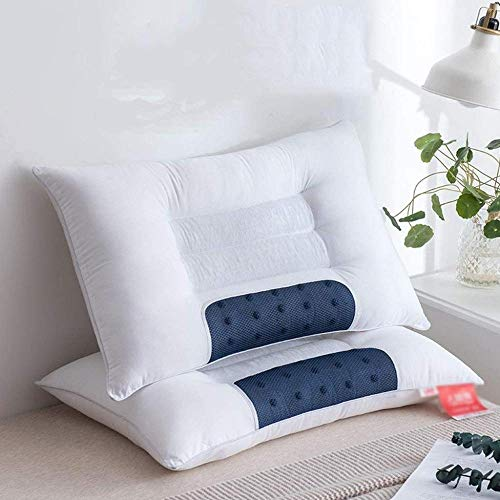 KIKCY Nackenkissen Schlafkissen Baumwollkissen Erwachsene Pflege Gebärmutterhalskissen kann die Schlafqualität verbessern-Blau und Weiß * 2