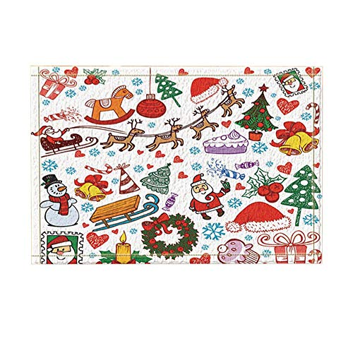 ottbrn Badmat, Kerstmis, Santa, kaars, bol, sneeuwman, kleine bel, antislip, voetmat voor binnen, toegangsdeur, kindertapijt