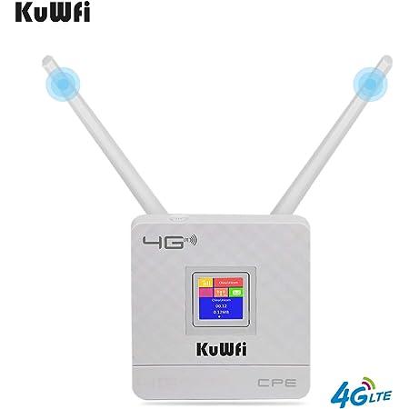 KuWFi Wi-Fi Router Inalámbrico, Cat4 enrutador CPE inalámbrico Antenas externas duales para el hogar/Oficina Soporte Trabajo con ...