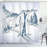 ABAKUHAUS Invierno Cortina de Baño, Deporte del esquí de montaña, Material Resistente al Agua Durable Estampa Digital, 175 x 200 cm, Azul Blanco