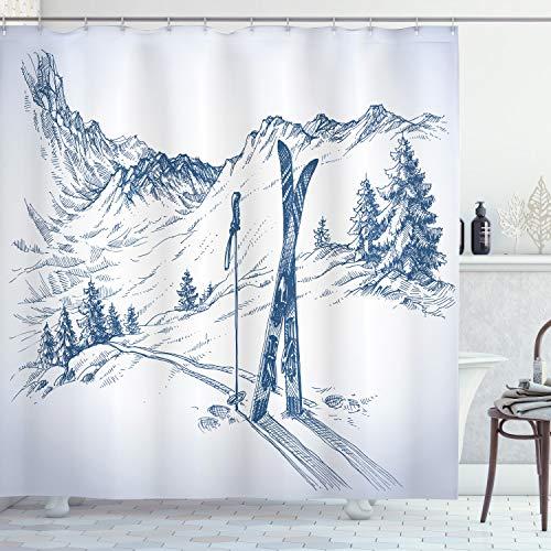 ABAKUHAUS Winter Duschvorhang, Ski Sport Bergblick, mit 12 Ringe Set Wasserdicht Stielvoll Modern Farbfest & Schimmel Resistent, 175x200 cm, Weiß Blau