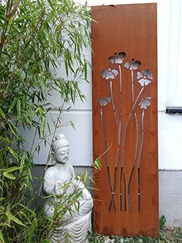Zen Man Edelrost Garten Sichtschutz aus Metall 1mm Rost Gartenzaun Gartendeko edelrost Sichtschutzwand H125*35cm 031925-5