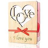Biglietto Amore, Biglietto d'Auguri d'Amore Fatto a Mano, Biglietto di Auguri in Legno con Buste, le Migliori Carte Regalo per san Valentino, Compleanni, Anniversari, Matrimoni e Occasioni Speciali(B)