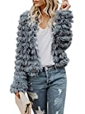 Inorin Womens Fall Open Front Cardigan Faux Fur Coat Vintage Parka Shaggy Jacket Warm Coat Tops