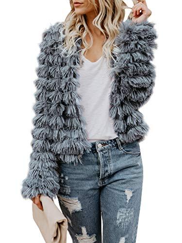 Inorin Damen Vorne offen Cardigan-Pelz-Mantel-Vintage-Parka Shaggy Jacke warmen Mantel-Tops Large Grau