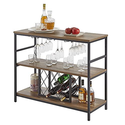 FOLUBAN Wine Rack Table, Industrial Bar Buffet Cabinet for Liquor and Glasses, Rustic Wood and Metal Wine Cabinet with Storage, Oak