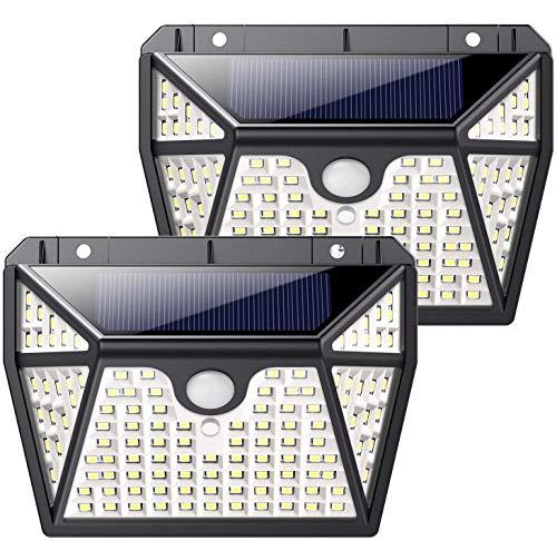QTshine Luce Solare Led Esterno 118 LED, [Servizio di 24 Mesi -1000 lumen] Lampada Solare con Sensore di Movimento 2200mAh Wireless Impermeabile Luci Solari con 3 Modalità per Giardino [2Pezzi]