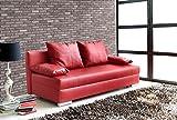 lifestyle4living Schlafsofa in Rot aus Kunstleder | Sofa mit Schlaffunktion und Bettkasten | Pflegeleichte Couch inkl. Rücken- und Armlehnkissen