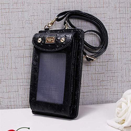 Bolsa para celular com tela sensível ao toque, multifuncional, para pendurar no pescoço, bolsa mensageiro, pequena estampa de avestruz, mini bolsa para moedas para mulheres, meninas, preta, perfeita