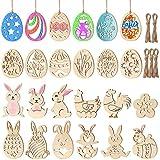 STOBOK 48 Pezzi Non Finiti Ornamenti Pasquali in Legno Uovo di Pasqua Coniglietto Appeso Fette di Legno Artigianato Fai da Te per Bambini Decorazioni Pasquali