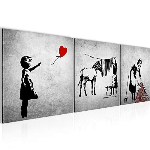 Bilder Banksy Street Art 3 Teilig Bild auf Vlies Leinwand Deko Wohnzimmer 90 x 30 cm Graffiti Schwarz Weiss 029234a