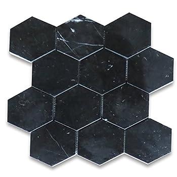 Stone Center Online Nero Marquina Black Marble 4 inch Hexagon Mosaic Tile Polished for Kitchen Backsplash Bathroom Flooring Shower Surround Dining Room Entryway Corrido Spa  1 Sheet