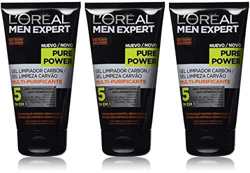 L'Oréal Men Expert Pure Power tägliche Kohle-Reinigung, Bekämpft Hautunreinheiten (Mitesser, Akne und Pickel) ohne austrocknen Porenverfeinernd (3x)
