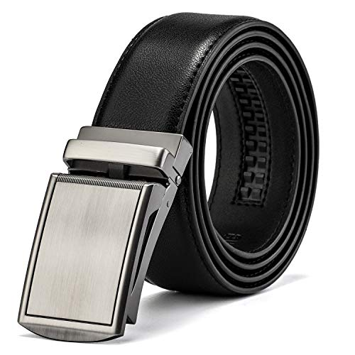 MUCO Cinturón de cuero para hombres,Sencillo y clásico, con hebilla automática