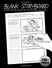 Blank Storyboard: Notebook Sketchbook Template Panel Pages for Storytelling & Layouts with 16:9 Story Board Frames on 8.5