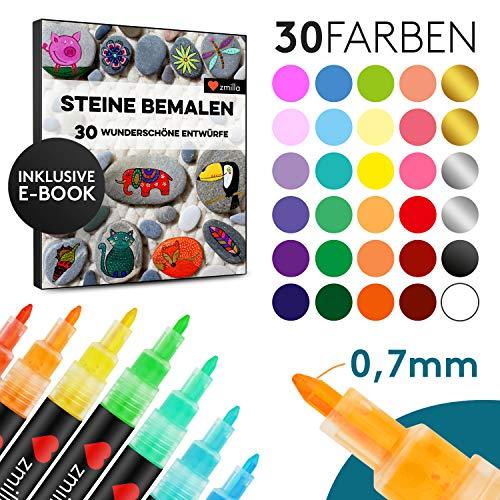 ZMILLA® Acrylstifte (30 Farben) - Extra Dünne 0,7mm Spitze - Inklusive E-Book - Wasserfeste Multimarker Zum Steine Bemalen