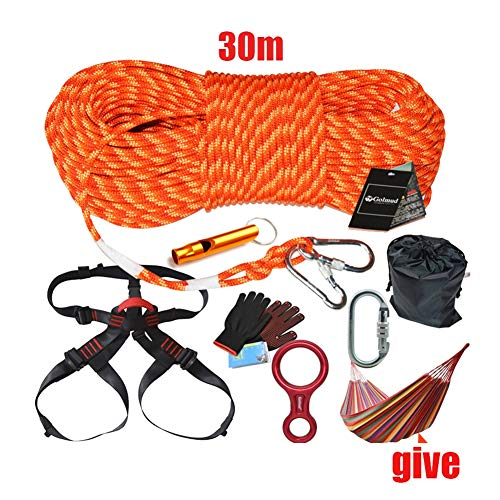 30m Kletterausrüstung Outdoor-Seil-Karabinergeschirr Abenteuerausrüstung Wild Survival Escape Set Kletterzubehör - 7 Stück