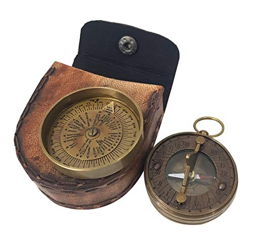Dekor Mobilya Nautical Antique Pocket Sundial Calender Compass with Leather Box Magnetic Compass Nautical Gift