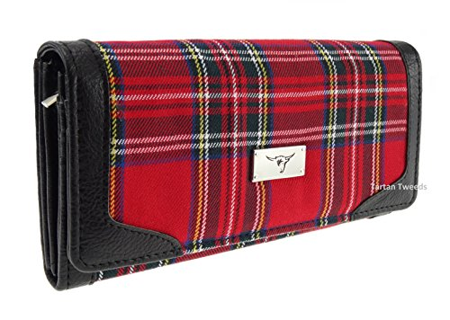 Harris Tweed TB8000 Damen-Geldbörse, lang, Royal Stewart Schottenmuster, Rot