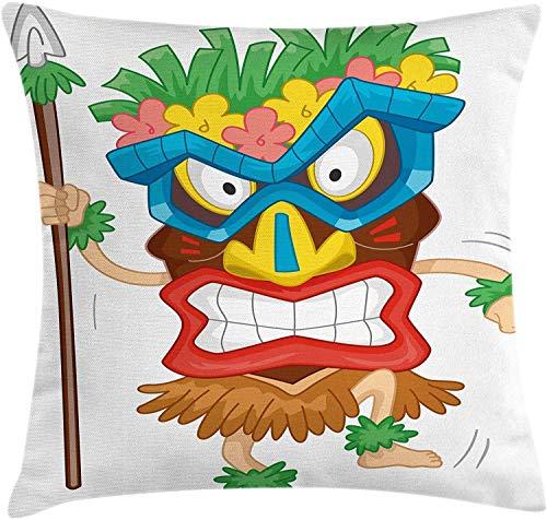 BONRI Throw Pillow Cojín, Hombre Nativo con una ilustración de Dibujos Animados Traje Tribal prehistórico, Funda de Almohada Decorativa Cuadrada Decorativa, Coral marrón, (16'x16 / 40x40cm