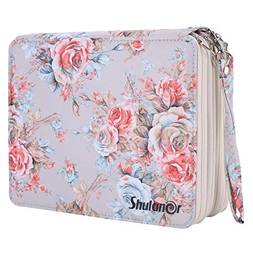 Shulaner 168 Slots Colored Pencil Case with Zipper Closure Large Capacity Oxford Pen Organizer Champagne Rose Pencil Holder for Student or Artist