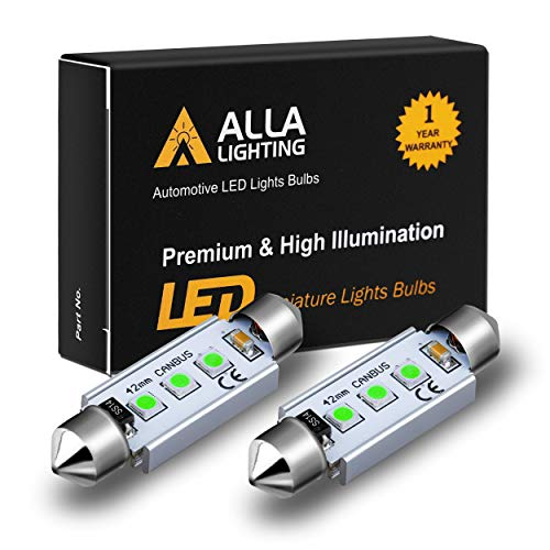 Alla Lighting CANBUS 211-2 578 LED Bulbs Super Bright 41mm 42mm Festoon 3030 SMD 212-2 569 6413 LED Lights Bulb for Interior Map, Dome, Trunk, Step Courtesy, License Plate Lights, 8000K Ice Blue