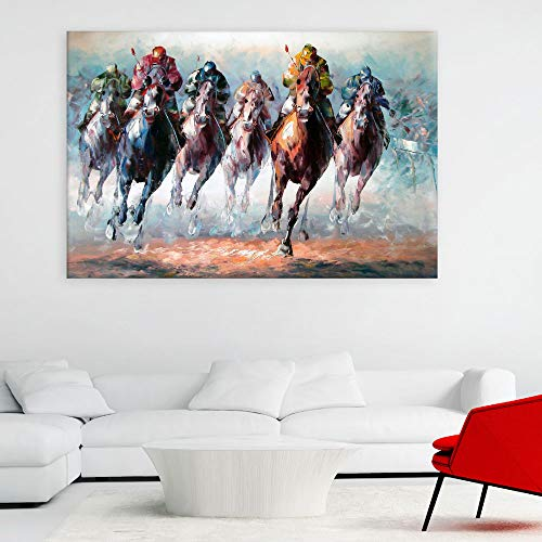 Inephos Unframed Canvas Painting - Horse Racing Illustration Art Wall Painting for Living Room, Bedroom, Office, Hotels, Drawing Room (36 inches X 24 inches)
