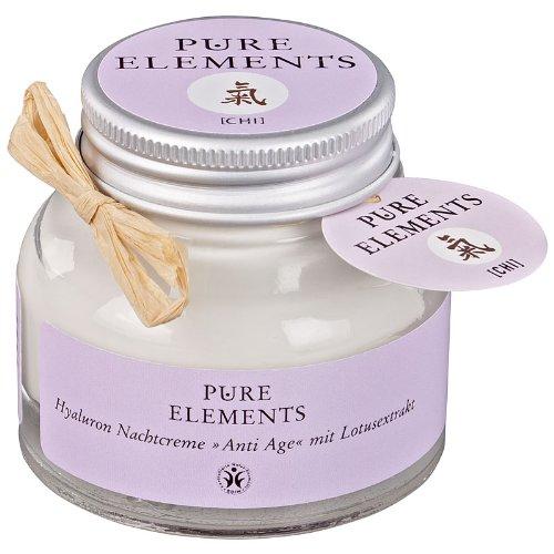 Pure Elements - Chi - Crème de nuit anti-âge à l'acide hyaluronique et à l'extrait de lotus - 50 ml