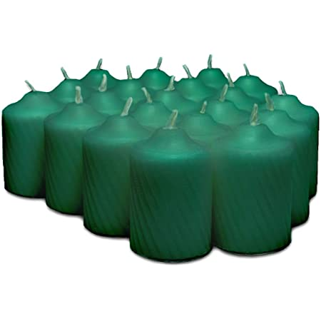 Green Pine Scented Votive Candles - 15 Hour Long Burn Time - Textured Finish - Box of 20