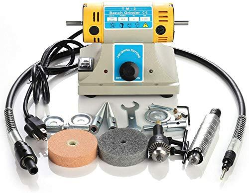 Kacsoo Máquina pulidora de joyas 350W pulidora eléctrica Máquina pulidora para madera de joyería para cuentas/bodhi/varios tipos de pulido manual de bricolaje