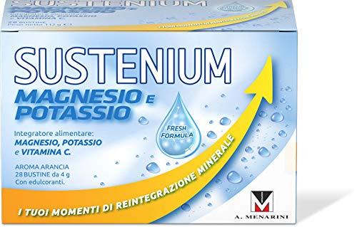 Sustenium Integratore Alimentare di Magnesio e Potassio con Vitamina C Che Aiuta a Ritrovare l Energia, Gusto Arancia, con Edulcoranti, Confezione da 28 Bustine da 4 G, Color Bianco, 10 Ml