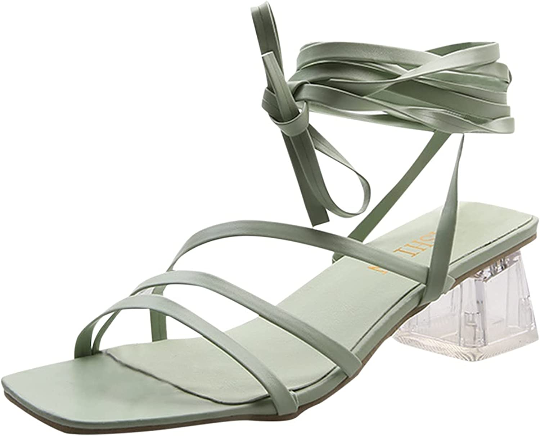 ZiSUGP Summer Fashion Large Size Thin Strap Crystal Chunky Heel Square Heel Sandals