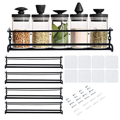 Portaspezie Salvaspazio – Autoadesivo Comodi contenitori spezie da cucina a 4 ripiani – Porta spezie da appendere – metallo