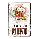 ivAZW Signe Étain Affiche Murale Métal Sweety Foods Boissons Menu Pub Bar Club Art Décoration Murale Vintage Plaque Peinture 20X30Cm 20