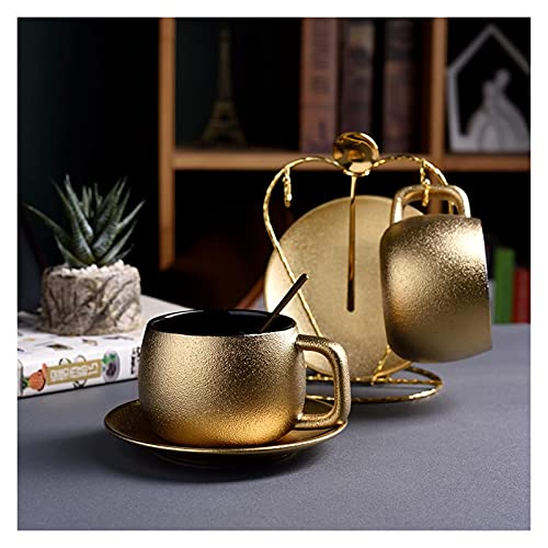 TYUXINSD Lujo Bur Dubai Lujo Noble Oro DE Oro Cafe Cafe Cafe SONUSE sobre LA CERIZ FRUSTED Mate Tea Table Table Late Espresso Taza Tazas Tasse Tasse Cuchilla Free (Capacidad: 300ml, Color: 1 Set)