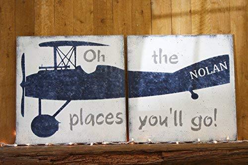 Ca565urs Vintage Vliegtuig Jongens Kwekerij Muurdecoratie Oh De plek waar je gaat Houten Teken