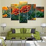 Cuadros de pintura de lienzo de arte de pared con impresión HD 5 piezas en los carteles de flores de caléndula salvaje para la decoración del hogar de la sala de estar, 150Cm × 80Cm, enmarcado