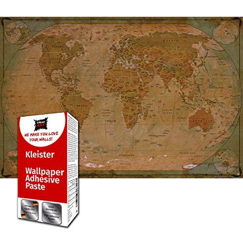 GREAT ART Fototapete Weltkarte Historischer Vintage Look 210 x 140 cm – World Map Globus Retro Stil Atlas Weltkugel Wandtapete Dekoration – 5 Teile Tapete inklusive Kleister