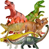 TEPSMIGO Jumbo Dinosaur Toys, 6PCS Big Dinosaur Set, Huge Soft Realistic Dinosaur Figures, Including Jurassic T-Rex Velociraptor Triceratops Stegosaurus Brachiosaurus Ankylosaurus Gift for Boys Girls