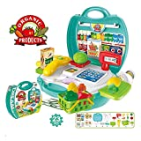 mwg exports co Pack of 23 piece kids grocery cash register set multi-functional educational pretend play toys with scanner, shopping basket etc great gifts for boys girls toddles-Green,Plastic