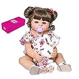 Decdeal 22 Pulgadas Muñecas Renacidas Silicona Suave Lavable Muñeca Niña con Adorable Traje Floral y Juguete de Conejo Regalos de Cumpleaños Juguete para Niños